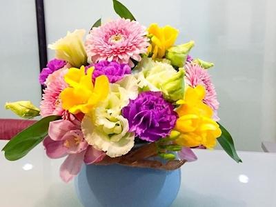 Aranjament floral vas de portelan Yellow Dream